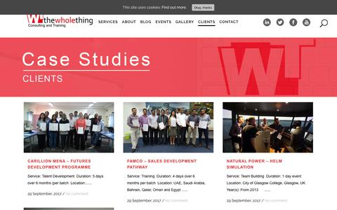 Screenshot of Case Studies Page thewholething.net - The Whole Thing |   Case Studies - captured Oct. 24, 2017