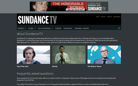 Screenshot of About Page sundance.tv - About – SundanceTV - captured Sept. 19, 2014