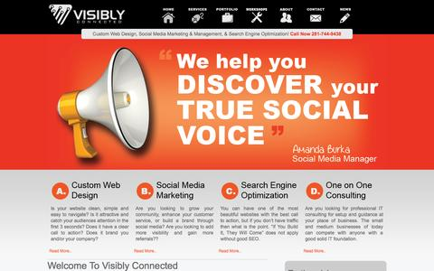 Screenshot of Home Page visiblyconnected.com - Online Marketing - Web design, Social Media Marketing, SEO - captured Aug. 15, 2015