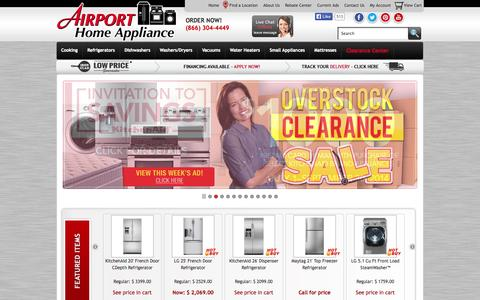 Screenshot of Home Page airportappliance.com - Airport Home Appliance - Shop for appliances in Northern California - captured Sept. 19, 2014