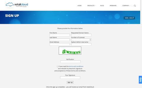 Screenshot of Signup Page retailcloud.com - Sign Up | retailcloud - captured Nov. 3, 2014