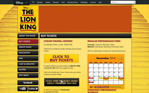 Screenshot of Home Page thelionking.co.uk - The Lion King | DisneyŐs Award-Winning Musical - captured Nov. 21, 2015