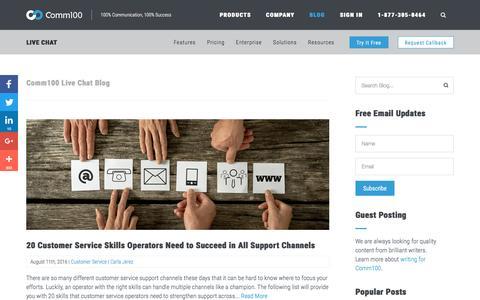 Screenshot of Blog comm100.com - Live Chat Blog | Customer Service Blog | Comm100 - captured Aug. 20, 2016