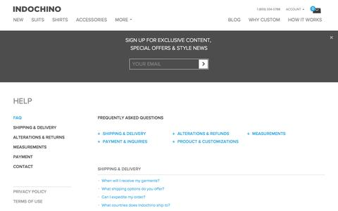Screenshot of FAQ Page indochino.com - Indochino Shipping, Alteration and Remake Policies - captured Sept. 16, 2014