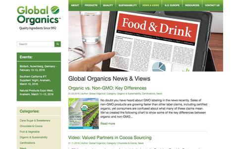 Screenshot of Press Page global-organics.com - News - Global Organics - captured Jan. 29, 2016