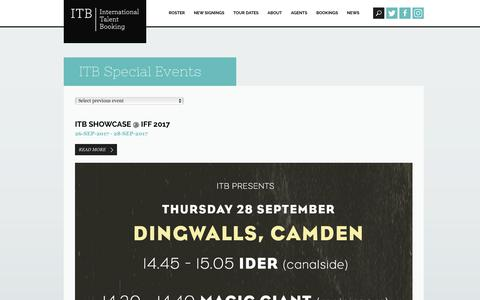 Screenshot of Press Page itb.co.uk - Showcase | ITB | International Talent Booking. Live music booking agency London - captured Oct. 15, 2017