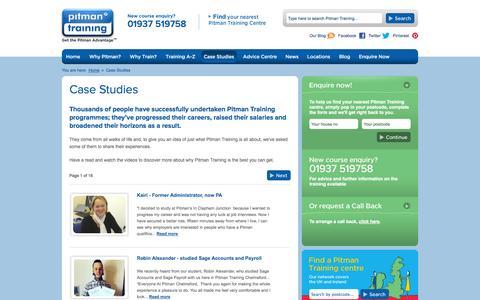 Screenshot of Case Studies Page pitman-training.com - Pitman Training Case Studies   Real Life Success Stories - captured Oct. 22, 2014
