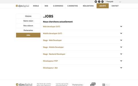 Screenshot of Jobs Page djmdigital.be - Djm Digital: carrières | Agence web Belgique - Liège - Visé - captured Jan. 15, 2018