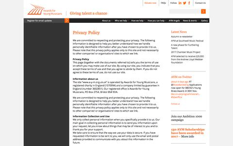 Screenshot of Privacy Page a-y-m.org.uk - Awards for Young Musicians | Giving talent a chance | Privacy Policy - captured Oct. 9, 2017