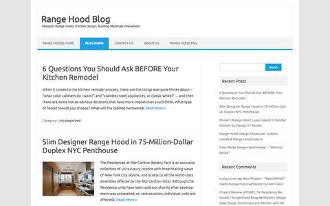 Screenshot of Blog futurofuturo.com - Range Hood Blog - Designer Range Hoods, Kitchen Design, Building Materials Innovations - captured June 6, 2017