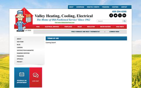 Screenshot of Terms Page valleyheating.com - Terms Of Use - captured Oct. 15, 2018