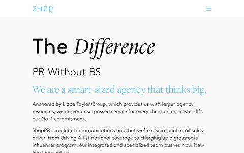 Screenshot of Services Page shop-pr.com - | The Difference | Shop PR Agency NYC - captured Dec. 21, 2016