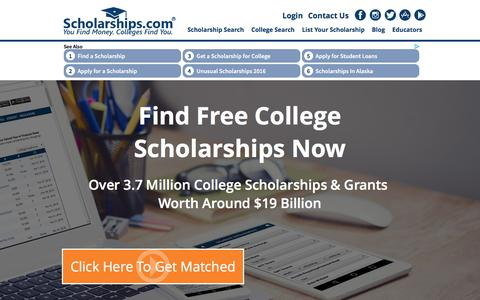 Screenshot of Home Page scholarships.com - Scholarships.com - Free College Scholarship Search Financial Aid Grants Scholarships College Scholarship Scholarships - captured Aug. 27, 2016