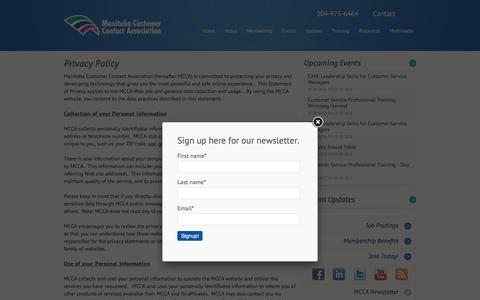 Screenshot of Privacy Page mcca.mb.ca - Privacy Policy - Manitoba Customer Contact Association - captured Nov. 19, 2016
