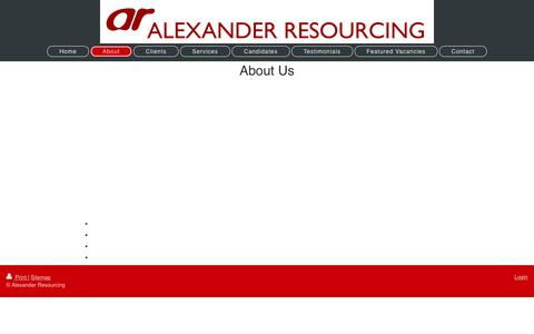 Screenshot of About Page alexanderresourcing.co.uk - Tailored Recruitment Solutions - captured May 29, 2017