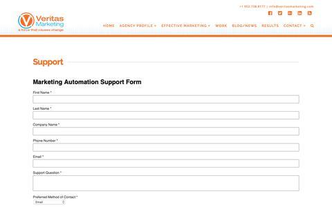 Screenshot of Support Page veritasmarketing.com - Support - Veritas Marketing - captured Oct. 20, 2018