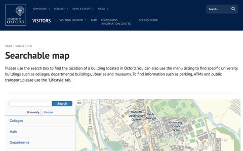 Screenshot of Maps & Directions Page ox.ac.uk - Searchable map | University of Oxford - captured Dec. 3, 2015