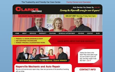 Screenshot of Services Page clarkscarcare.com - Oil Change - Check Engine - Naperville Mechanic - Aurora Auto Repair - captured Sept. 29, 2014