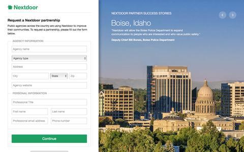 Screenshot of Landing Page nextdoor.com - Nextdoor: Apply for a City Partnership - captured Aug. 17, 2016
