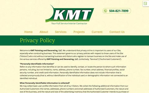 Screenshot of Privacy Page kmtllc.com - Privacy Policy | KMT Painting and Decorating, LLC - captured Nov. 27, 2016