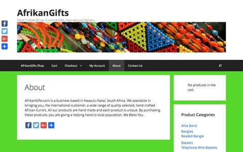 Screenshot of About Page afrikangifts.com - About - AfrikanGifts - captured Nov. 20, 2016