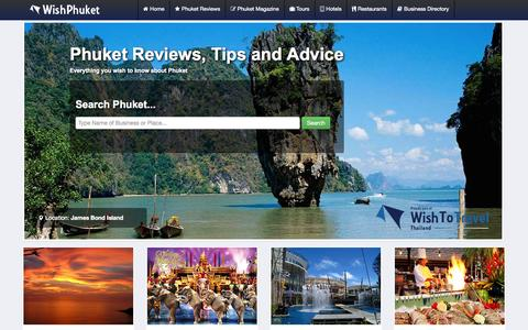 Screenshot of Home Page wishphuket.com - Phuket Reviews, Travel Tips| Destination Guide | Tours | Hotels. - captured Sept. 22, 2014