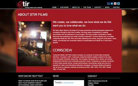 Screenshot of About Page stirfilms.net - Stir Films About Us | Video Production | Calgary, Alberta - captured Dec. 16, 2016