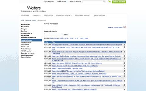 Screenshot of Press Page waters.com - News Releases : Waters - captured March 29, 2016