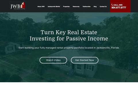 Screenshot of Home Page jwbrealestatecapital.com - Turn Key Real Estate Properties, Jacksonville, FL | JWB Real Estate Capital - captured May 17, 2016