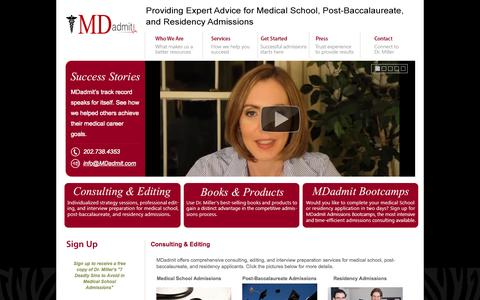 Screenshot of Services Page mdadmit.com - Consulting & Editing - Mdadmit - captured Sept. 30, 2014