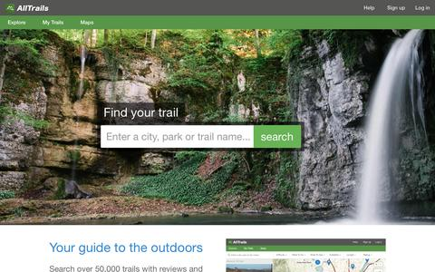 Screenshot of Home Page alltrails.com - Outdoor Guides | Hiking, Camping, Trail Running, Dog Friendly Trails | AllTrails.com - captured June 19, 2016