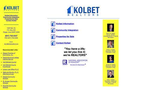 Screenshot of Home Page kolbetrealtors.com - Kolbet Realtors - Osage Iowa - captured Sept. 20, 2018