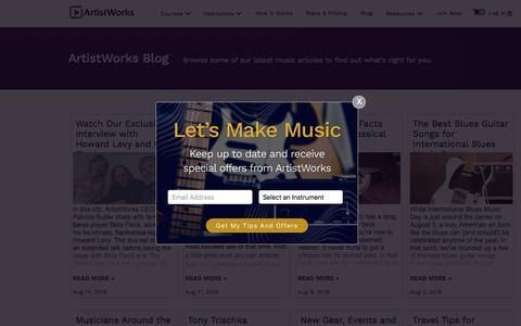 Screenshot of Blog artistworks.com - Blog | ArtistWorks - captured Aug. 15, 2019