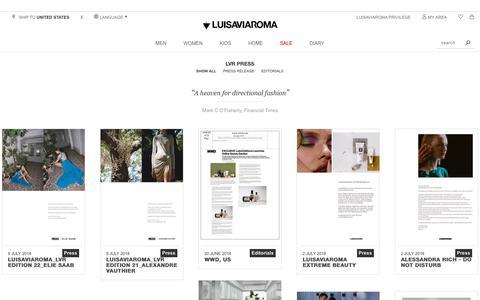 Screenshot of Press Page luisaviaroma.com - LVR Press - Luisaviaroma - captured Sept. 4, 2018