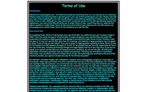 Screenshot of Terms Page lizardkingarts.com - Lizard King Arts Terms of Use - captured June 15, 2016
