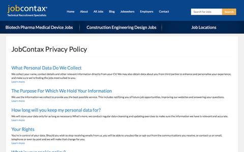 Screenshot of Privacy Page jobcontax.com - Privacy Policy JobContax Recruitment Agency| JobContax - captured Sept. 20, 2018