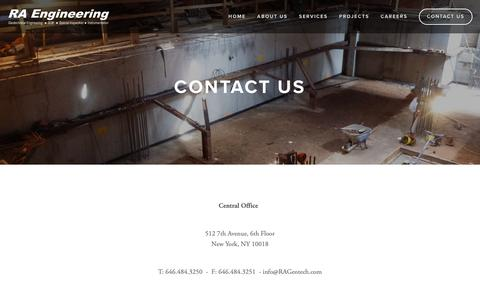 Screenshot of Contact Page rageotech.com - Contact Us — RA Engineering - captured Oct. 18, 2018