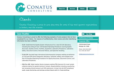 Screenshot of Case Studies Page conatusconsulting.com - Conatus Consulting - Biotechnology, Pharmaceutical, Medical Device and Life Sciences Consulting - captured Oct. 2, 2014