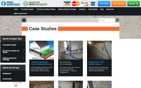 Screenshot of Case Studies Page kcmaster.com - Foundation Repair Kansas City | Case Studies - captured Oct. 16, 2017