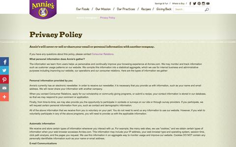 Screenshot of Privacy Page annies.com - Privacy Policy - Annie's Homegrown - captured Sept. 25, 2014