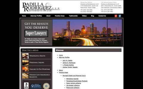 Screenshot of Site Map Page houstontexaspersonalinjurylawyers.com - Sitemap -Padilla & Rordriguez, LLP - captured Sept. 23, 2014