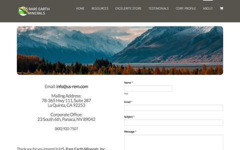 Screenshot of Contact Page us-rem.com - CONTACT – U.S. Rare Earth Minerals, Inc - captured Sept. 28, 2017