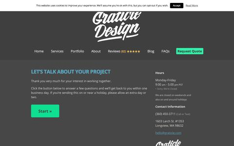 Screenshot of Contact Page graticle.com - Request a Quote for Your Project - WordPress Website Design | Graticle - captured July 1, 2018