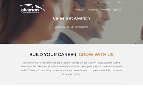 Screenshot of Jobs Page alvarion.com - Careers - Open postioins at Alvarion Technologies - captured Nov. 20, 2016