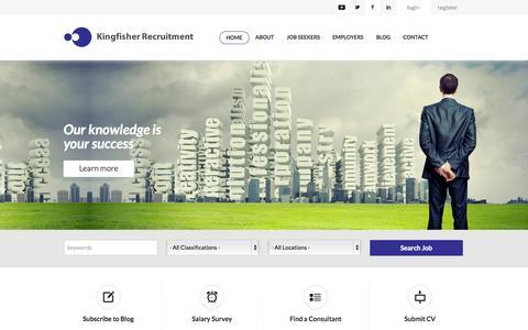 Screenshot of Home Page kingfisherrecruitment.com.au - Kingfisher Recruitment: Built Environment - captured Sept. 30, 2014