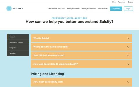Screenshot of FAQ Page salsify.com - Frequently Asked Questions about Salsify - captured Jan. 30, 2017