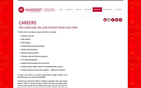 Screenshot of Jobs Page hairzoo.com - Careers - Hairzoo - captured Sept. 27, 2014