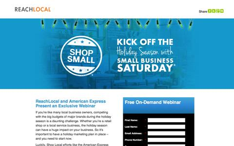 Screenshot of Landing Page reachlocal.com - Free Webinar: Kick Off the Holiday Season with Small Business Saturday - captured March 14, 2016