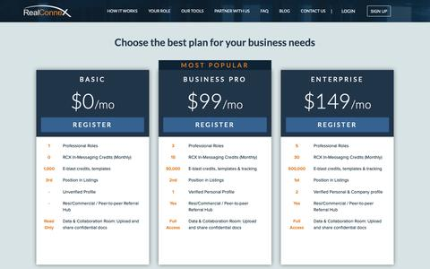 Screenshot of Pricing Page realconnex.com - Pricing page | RealConnex - captured Oct. 19, 2018