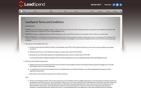 Screenshot of Terms Page leadspend.com - LeadSpend | Terms and Conditions - captured June 16, 2015